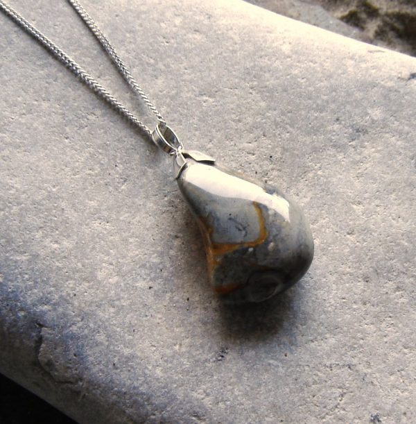 Natural Grey and Ochre Flint Necklace in sterling silver and natural British flint hand-collected on the Northumbrian coast, North East England
