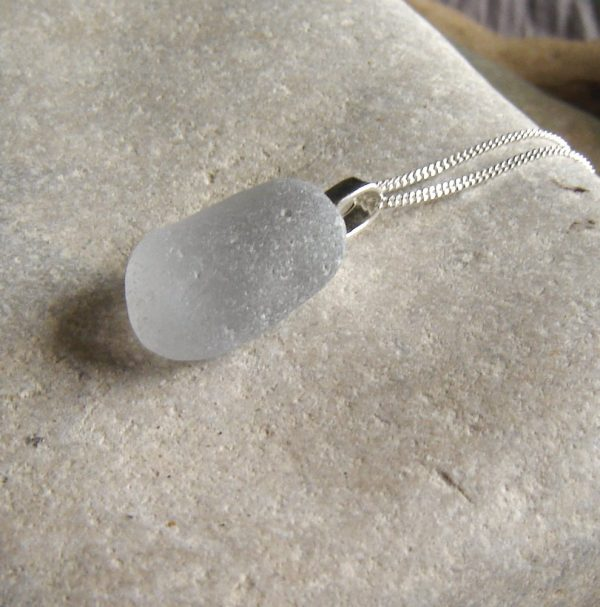 Large Grey Sea Glass Pendant in genuine Northumbrian sea glass from the North East coast of England, UK.