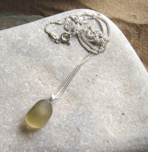 Grey Olive Green Sea Glass Pendant in English sea glass from the North East coast of England.