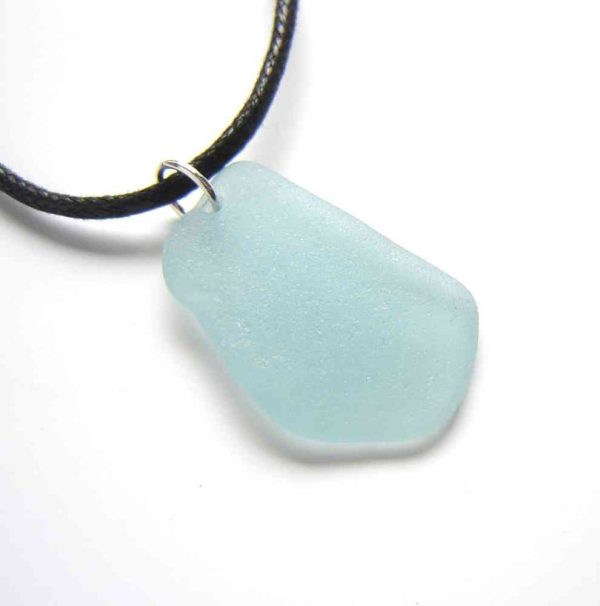 Large Aqua Blue Sea Glass Choker Necklace. A Northumbrian sea glass choker pendant necklace handmade with rare aqua sea glass collected by hand on the north-east, Northumbrian coast of England. Unisex sea glass jewellery,