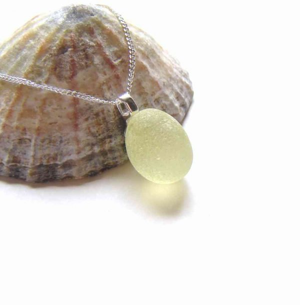 Lemon Yellow Frosted English Sea Glass Necklace. English Sea Glass Pendant Necklace made in sea glass hand-collected on the North East coast of England