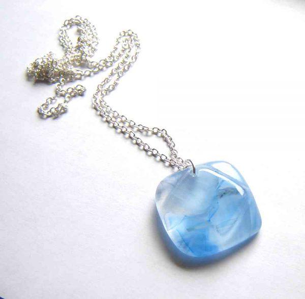 Large Light Blue Swirls Abstract Glass Pendant