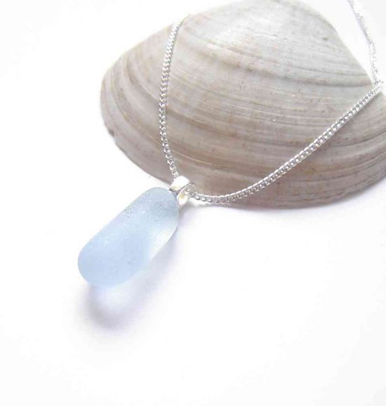 Light Cobalt Blue Sea Glass Necklace in genuine sea glass hand-collected on the North east coast of England, United Kingdom.