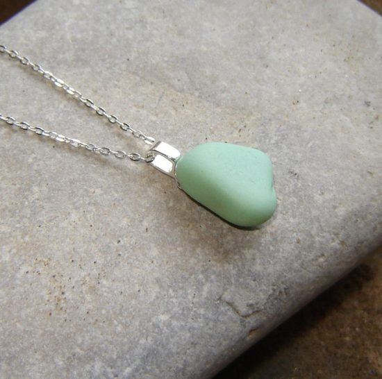 Mint Green Sea Glass Pendant Necklace. Mint pastel green Northumbrian sea glass necklace, hand made in sterling silver and English sea glass from the County Durham coast, England