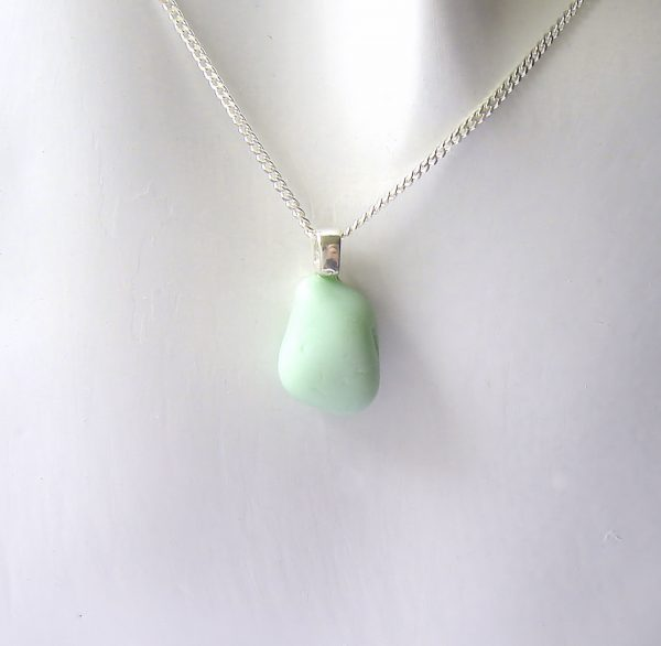 Mint Green Sea Glass Necklace. A handmade English sea glass necklace.