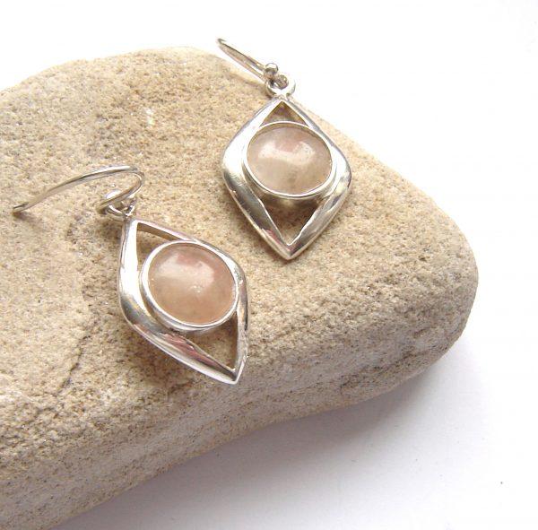 Handcrafted natural gemstone earrings in British carnelian quartz