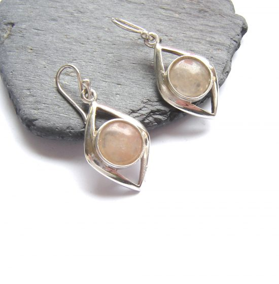 Handcrafted natural gemstone earrings in British carnelian quartz