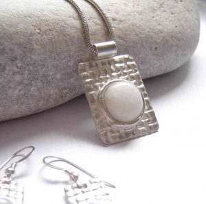 Natural British Quartz Textured Silver Pendant handmade with natural, untreated white quartz, which I have collected in the Northumbria region, England (UK), and silverwork.
