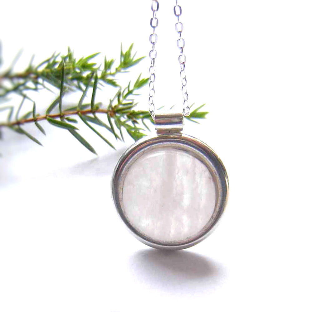 Natural Stone Jewellery: Natural British quartz pendant in sterling silver