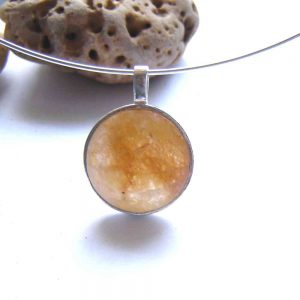Large Natural Quartz Round Pendant in natural, untreated quartz collected by hand in North East England, cut into a round cabochon, hand finished and set in sterling.