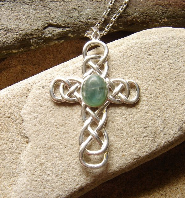 Large Celtic Cross Cabochon Necklace with a natural apatite oval cabochon