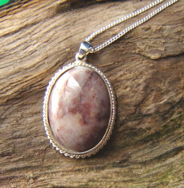Pink & White Speckled Natural Quartz Necklace. English Quartz Cabochon Necklace in natural quartz hand-collected, shaped and finished in the North East of England