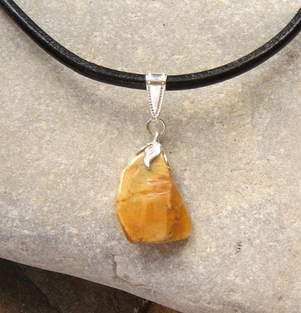 Natural Yellow Ochre Flint Choker Necklace. Natural British Flint Choker Pendant.