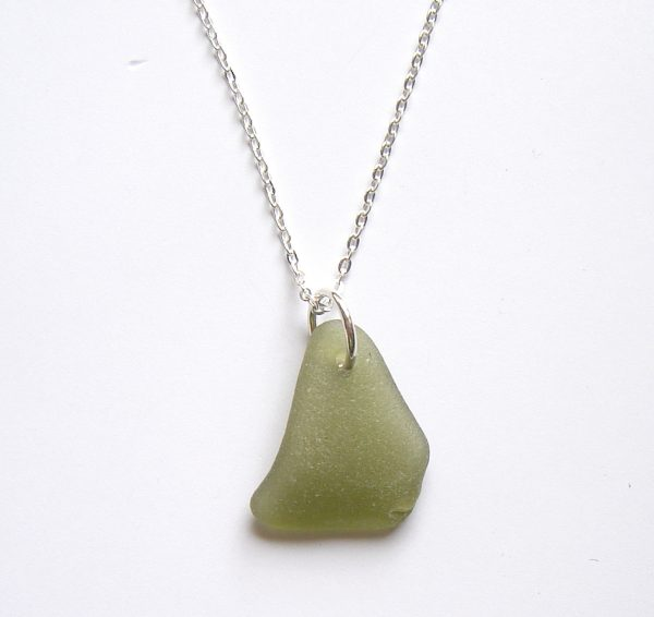 Olive Green Northumberland Sea Glass Pendant