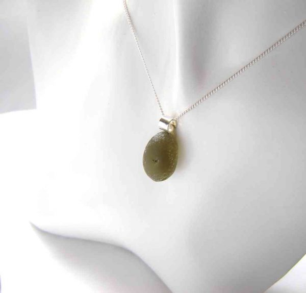 Olive Green Sea Glass Pendant. A Northumbrian sea glass necklace handmade with rounded, frosted olive green sea glass.
