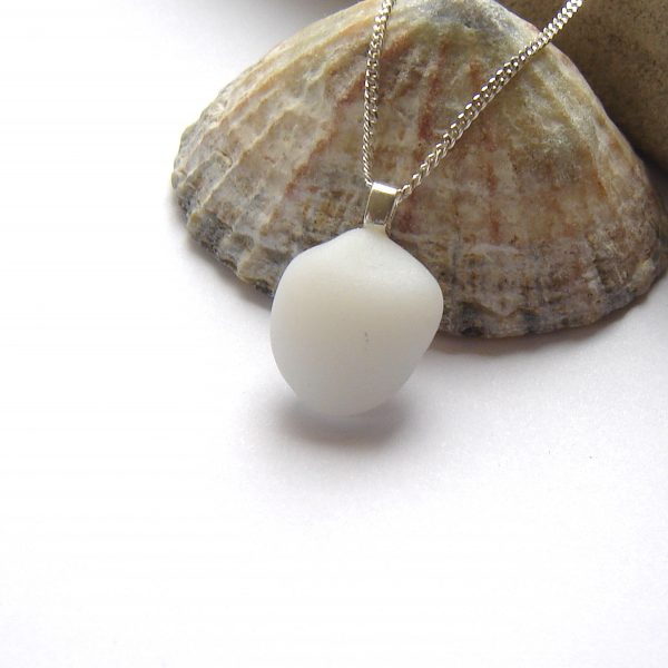 Opaque White English Sea Glass Necklace