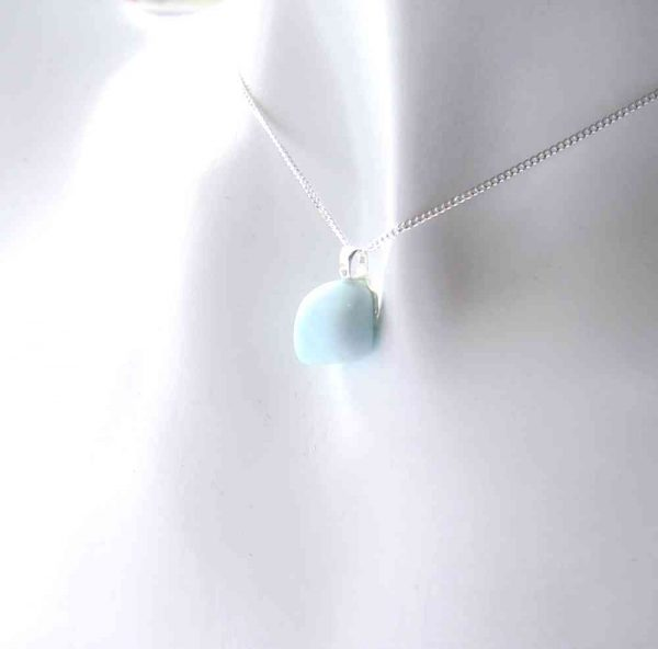 Pale Blue Pastel Sea Glass Necklace handmade in genuine Seaham sea glass hand-collected on the County Durham coast of England.