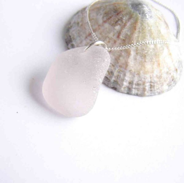 Pale Pink Northumbrian Sea Glass Necklace. English Sea Glass Pendant Necklace made in sea glass hand-collected on the North East coast of England.