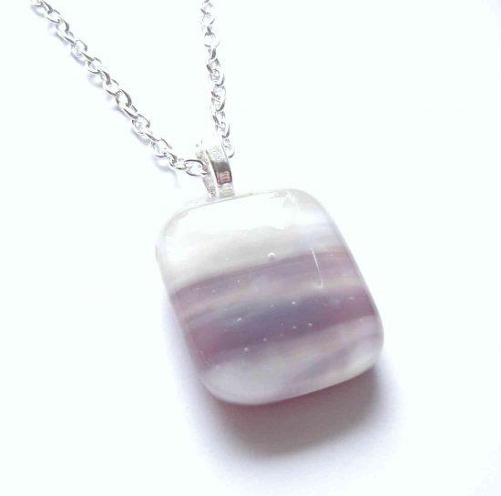 Purple Banded Fused Glass Pendant