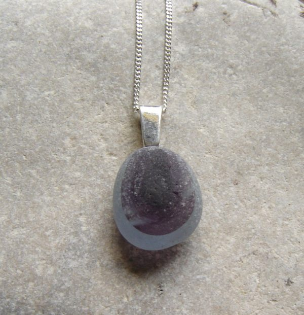Rare Purple End of Day Sea Glass Pendant. A Purple Banded Multi English Sea Glass Necklace in genuine 'end of day' sea glass hand collected at Seaham, North East England, United Kingdom.