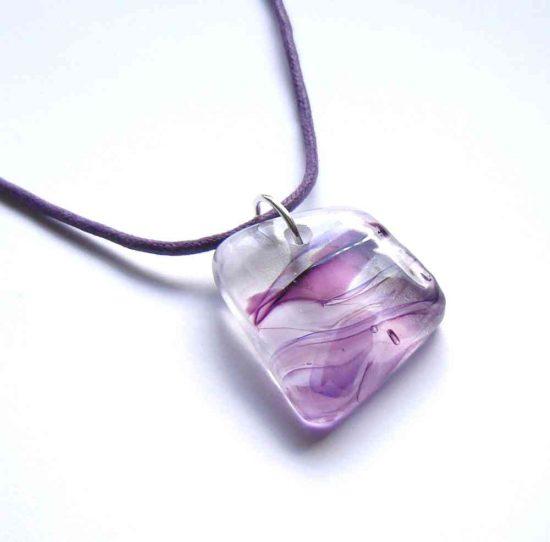 Men's or women's large purple glass pendant