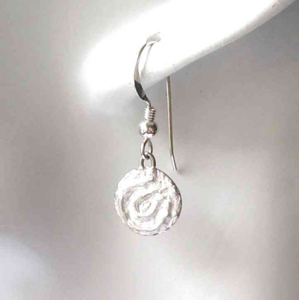 Round Cup and Ring Marks Silver Earrings by Northumbria Gems