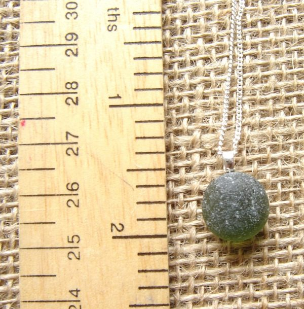 Round Green Frosted Sea Glass Necklace. English Sea Glass Pendant Necklace made in green frosted sea glass hand-collected on the Northumbrian coast of England. English sea glass jewellery from Northumbria Gems.