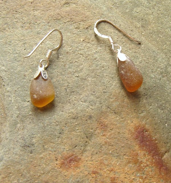 Light Amber Brown Sea Glass Earrings. English sea glass earrings, in sea glass from the Northumbrian coast of England, set in sterling silver