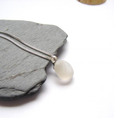 Round Frosted White Sea Glass Pendant necklace in sterling silver and genuine English sea glass