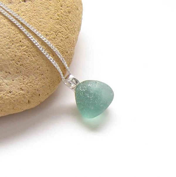 Tiny Teal Frosted Sea Glass Pendant. Small Blue Green English Sea Glass Necklace in sea glass hand-collected on the Northumbrian coast of England, set in sterling silver
