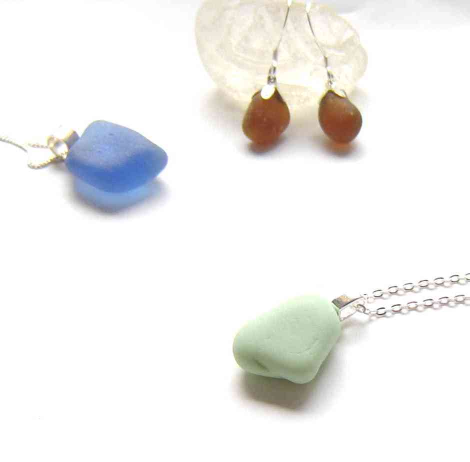 Northumbrian Sea Glass Jewellery: cobalt blue and jadeite sea glass necklaces, brown sea glass earrings