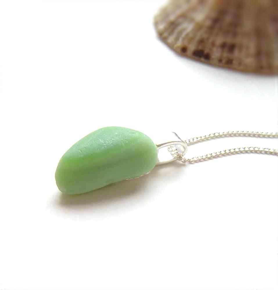 Northumbrian Sea Glass Jewellery: Sea Glass Jewellery. Mint Green Jadeite Sea Glass Necklace