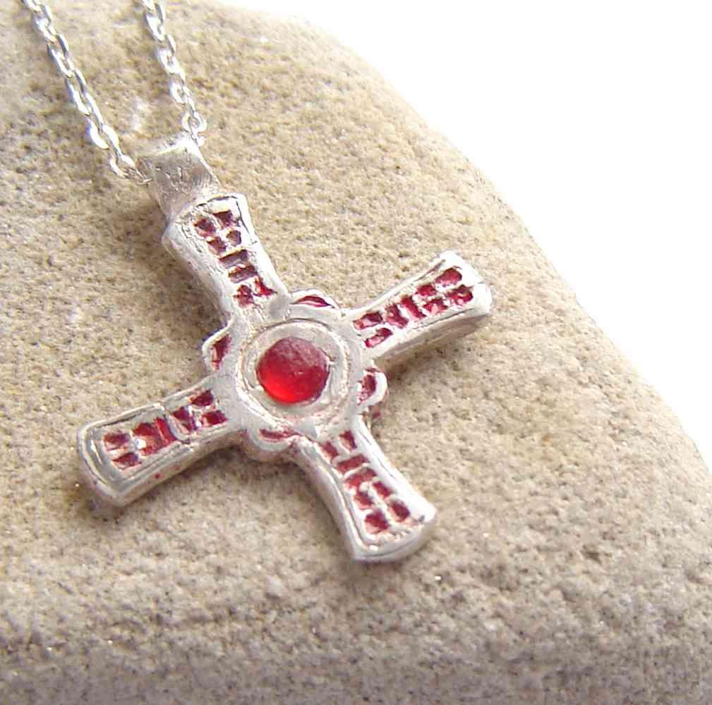 ba1dafc30ec8fe Sea Glass & Silver Rustic 'Cross of St. Cuthbert' Necklace. A small