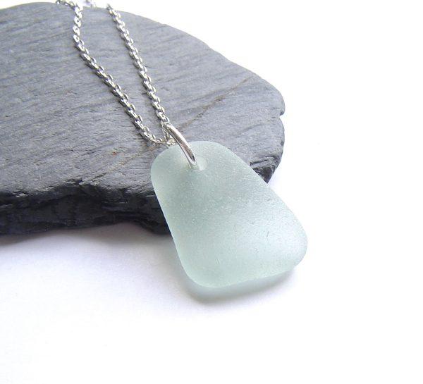 Seafoam White Sea Glass Necklace