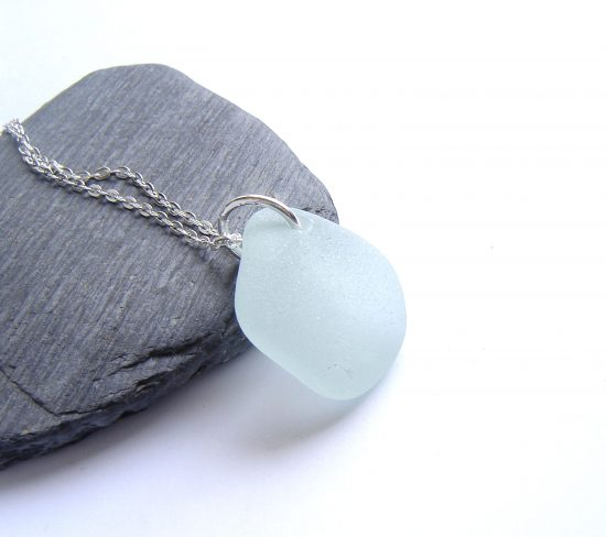 Seafoam White Sea Glass Pendant