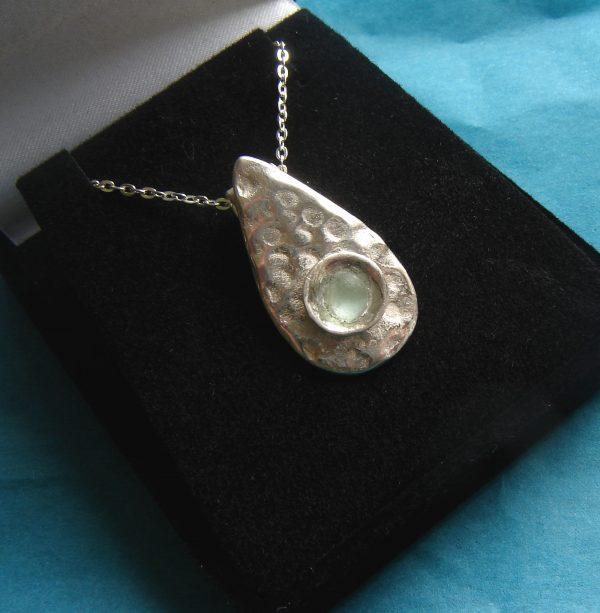 Handmade Silver Teardrop English Sea Glass Pendant