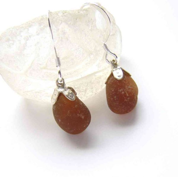 Small Amber Brown Sea Glass Earrings. Small Brown English Sea Glass Earrings in sea-washed frosted seaglass hand-collected on the North East coast of England