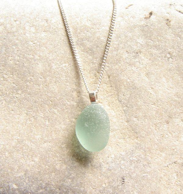 Aqua Green Blue Sea Glass Pendant. English Sea Glass Pendant, sterling silver, in sea glass hand-collected on the North East coast of England