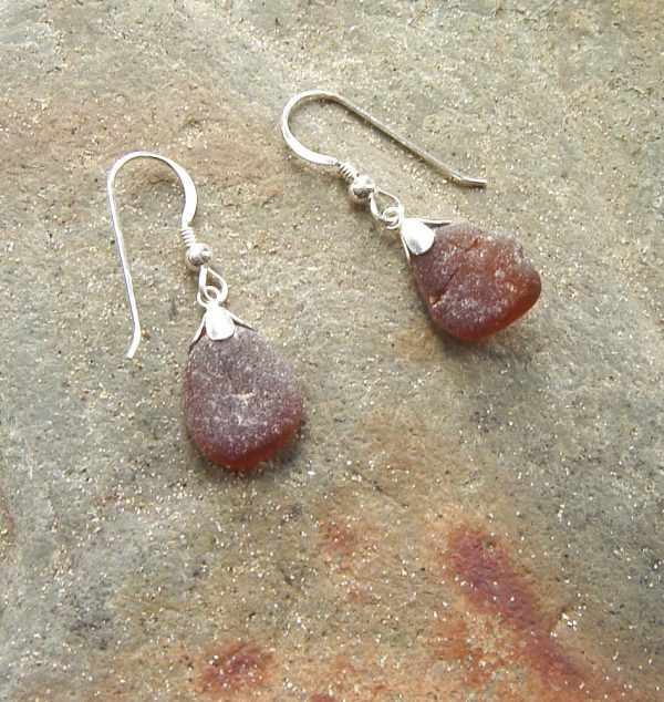 Brown Sea Glass Earrings. Northumbrian Sea Glass Earrings in English sea glass collected on the North East coast of England
