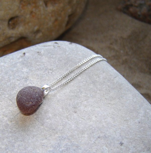Brown Sea Glass Pendant Necklace in sterling silver and genuine English sea glass from the beaches of Northumbria, England.