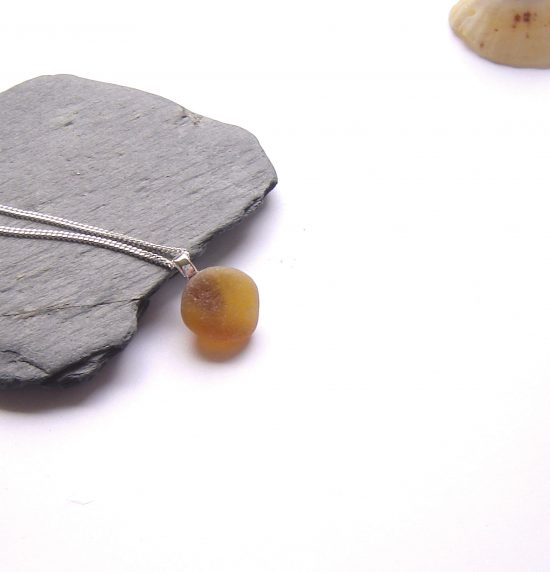 Small Brown Sea Glass Pendant Necklace in genuine English seaglass from the beaches of Northumbria, England.