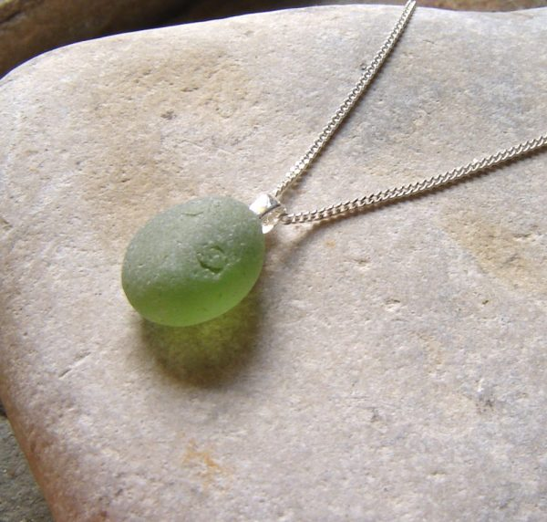 Green Oval Sea Glass Pendant. Small rounded frosted green English sea glass necklace