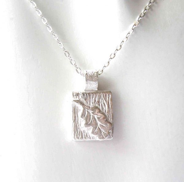 Small Oak Leaf Textured Fine Silver Pendant