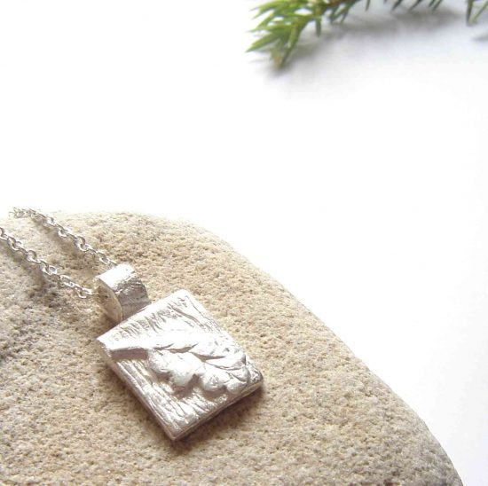 Small Oak Leaf Textured Fine Silver Pendant