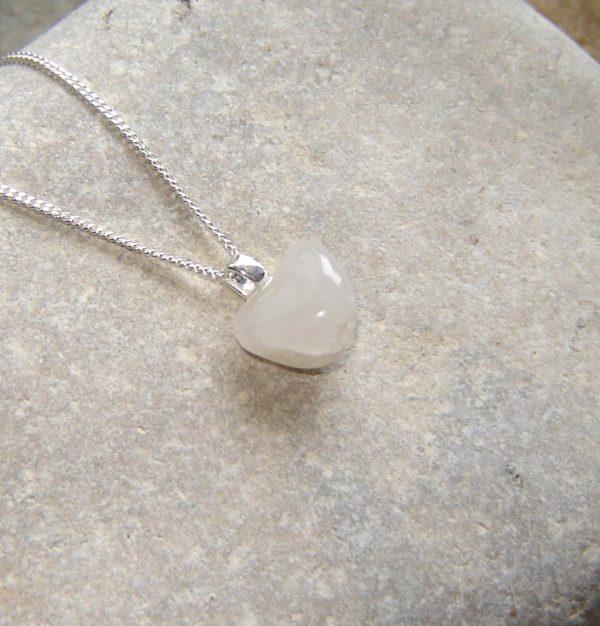 White Milky Quartz Drop Necklace. Small White English Quartz Necklace in natural quartz from Northumbria, England