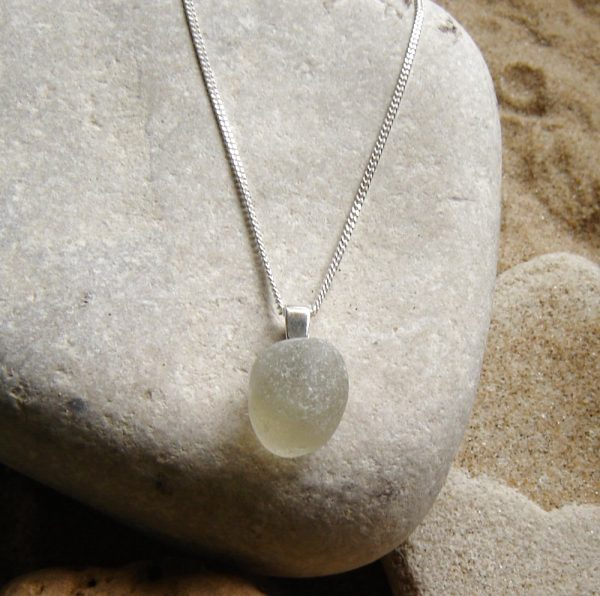 Smoky Grey Sea Glass Pendant. Smoky Grey English Northumbrian Sea Glass Necklace in sterling silver, from Northumbria Gems.