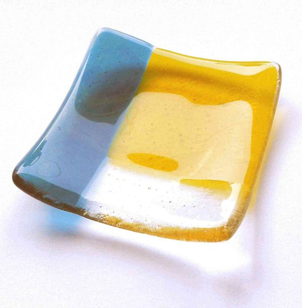 Teal and Amber Fused Glass Jewellery or Ring Dish