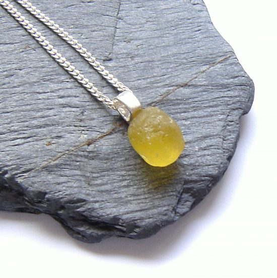Tiny Citron Yellow English Sea Glass Necklace