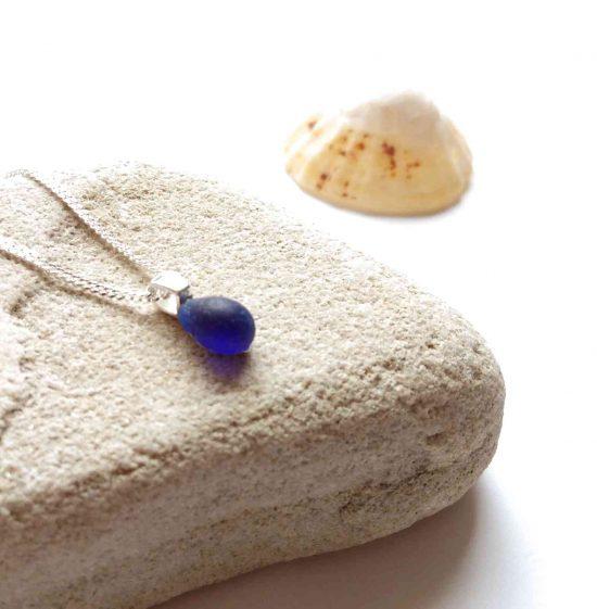 Tiny Cobalt Blue Sea Glass Necklace SGSSP60b