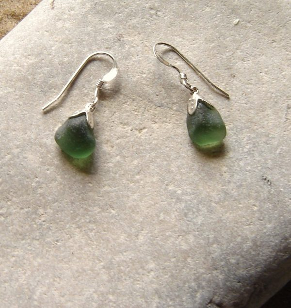 Small Green English Sea Glass Earrings, sterling silver, in small pieces of Northumbrian sea glass from the North East coast of England